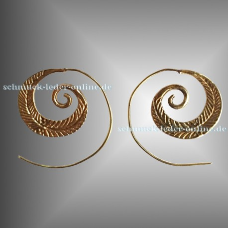 Golden Feather Spirals Earrings Brass Bronze Handmade Fashion Jewelry Jewellery