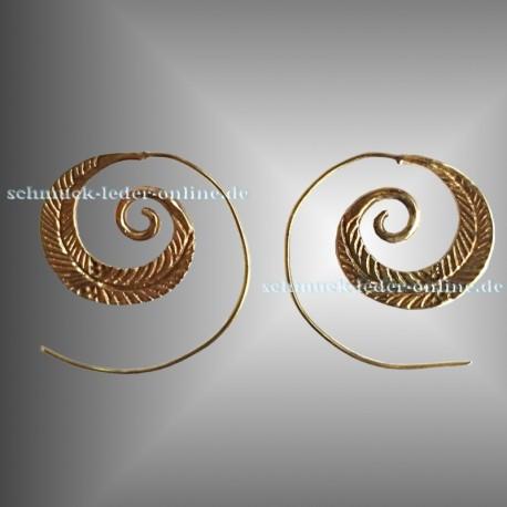 Goldene Feder Spirale Messing Ohrringe Gold farbe Modeschmuck Handgemacht