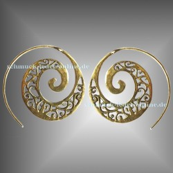Golden Filigree Spirals Earrings Brass Bronze Handmade Fashion Jewelry Jewellery Boho Goa Hippie