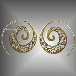 Pendientes Espiral filigrano Latón Dorados artesanía hechos a mano bisutería