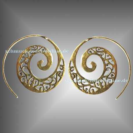 Golden Filigree Spirals Earrings Brass Bronze Handmade Fashion Jewelry Jewellery Boho Goa Hippie