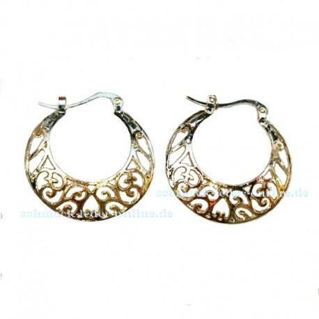 Goldene Creolen Filigran Ohrringe verziert vergoldet Modeschmuck
