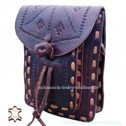Dokumenten Tasche Granada Muster Kastanienbraun schoko braun Naturleder Echtleder echtes Leder kleine Messengertasche punziert