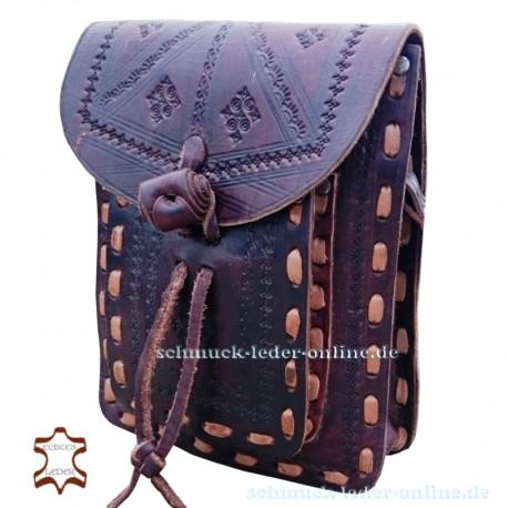 Small Leather Bag Granada Chocolate brown Handmade natural cowhide