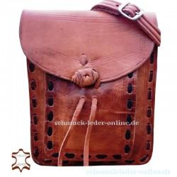 Bolso de Cuero Granada Marrón Claro Natural beige Artesanal rectangular con bolsillo