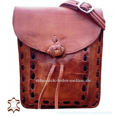 Dokumenten Tasche Granada naturbelassen cognac beige natur Naturleder Echtleder echtes Leder kleine Messengertasche handgemacht