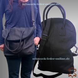 Damen Leder Tasche Shopper Groß Schwarz 2in1 Umhängetasche