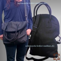 Large Leather Bag Shopper Black