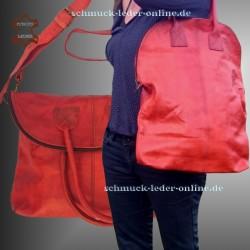 Damen Leder Tasche Shopper Extra Groß Fuchsrot/ Braun/ Orange 2in1 Umhängetasche