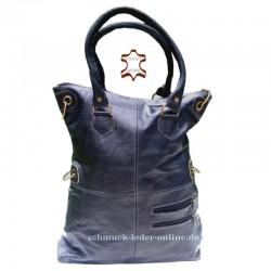 Bolso de Cuero muy Grande XXL Shopper Negro de mujer de hombro mano