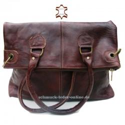 Damen Leder Tasche Shopper Extra Groß Braun 2in1 Umhängetasche