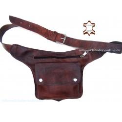 Riñonera de Cuero natural marrón artesanal Bolso pequeño con cinturón cintura