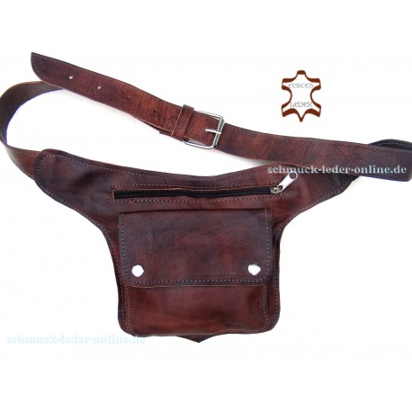 Hip Waist Side Brown Natural Leather Bag Fanny Pack real Handmade with Belt