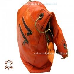 Damen Leder Tasche Shopper Extra Groß Fuchsrot/ Orange 2in1 Umhängetasche