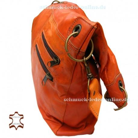 Damen echtes Leder Tasche XXL Shopper Sehr Groß Orange 2in1 Umhängetasche Schultertasche Ledertasche Groß Naturleder Echtleder