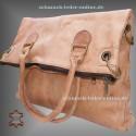 Damen Leder Tasche Shopper Extra Groß Natur/ Cognac 2in1 Umhängetasche