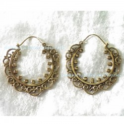 Golden Hoops Earrings Brass Bronze Handmade Fashion Jewelry Jewellery
