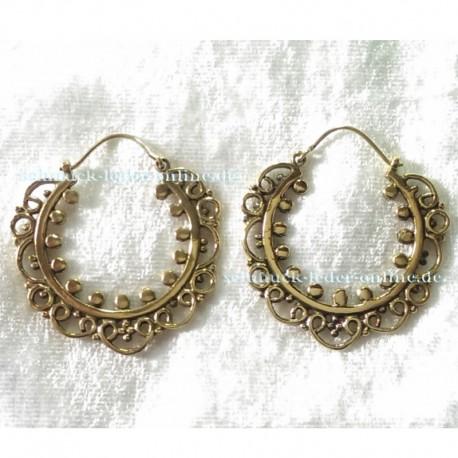 Golden Hoops Earrings Brass Bronze Handmade Fashion Jewelry Jewellery