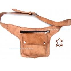 Hüfttasche Guerteltasche Naturleder Echtes Leder Tasche Natur Cognac Beige Goatasche Hipbag Umhängetasche Bauchtasche Gürtel