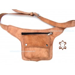Hip Waist Side Natural Leather Bag Fanny Pack Beige real Handmade with Belt