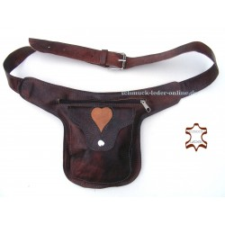 Leather Waist Bag Heart Brown