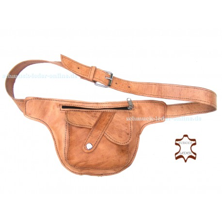 Waistbag Heart Hip Bag Waist Side Fanny Pack natural leather beige light brown Goabag small with Belt