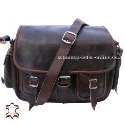 """Vintage Leder Tasche """"Mt.Fuji"""" Schoko/braun"""