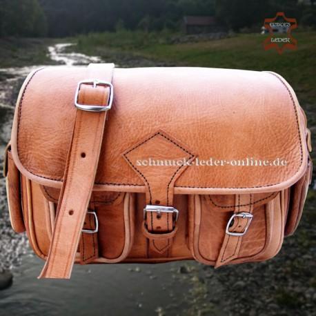"""Vintage Leather Bag """"Mt.Fuji"""" Natural beige light brown natural color hand made"""