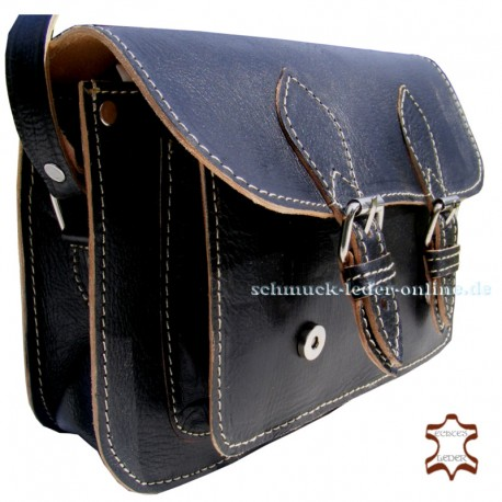 Small Black Leather Bag Handmade natural cowhide