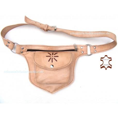 Hüfttasche Sonne cognac beige Gürteltasche Bauchtasche Satteltasche Side Bag Goa Tasche Seitentasche Naturleder Echtleder Handge