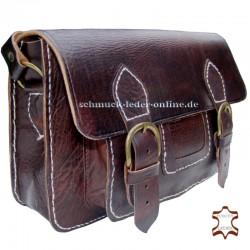 Bolso Vintage de Cuero Natural marrón castaño de hombro Artesanal rectangular con bolsillo hecho a mano