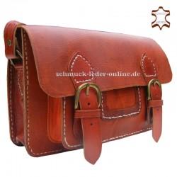 Bolso Vintage de Cuero Natural marrón rojizo de hombro Artesanal rectangular con bolsillo hecho a mano