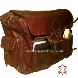 "XXL Vintage Leather Messenger Bag ""Mobyi"" Brown Briefcase"