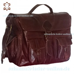 "XXL Leather Messenger Bag ""Balú"" Chestnut Brown"