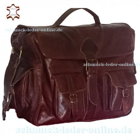 XXL Vintage Leder Messenger Tasche Schoko kastanienbraun  Rindleder Umhängetasche Herren Damen Schultertasche