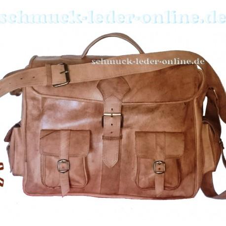 XXL Vintage Leder Messenger Tasche Natur Cognac Rindleder Umhängetasche Herren Damen Schultertasche