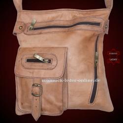 Bolso de Cuero Natural mediano beige marrón Claro de mujer de hombro
