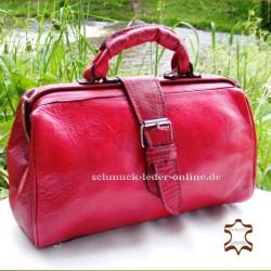 """Rote Damen Vintage Leder Handtasche """"Arzttasche"""""""