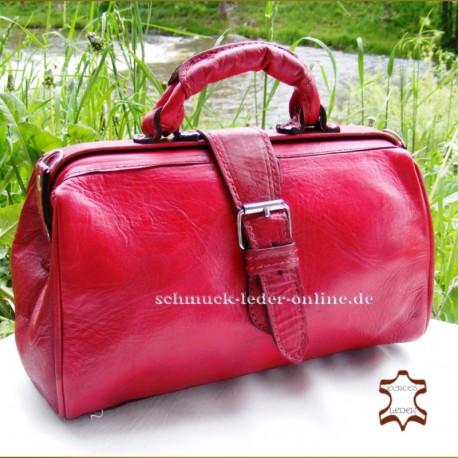 Red Vintage Leather Bag Doctors bag for women ladies