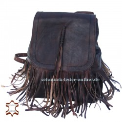 "Leather Backpack ""Cheroka"" Brown with Fringes"