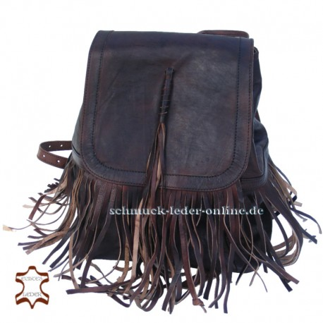 Leather Backpack with fringes Brown middle size for ladies handmade