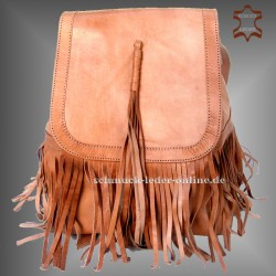 "Leather Backpack ""Cheroka"" Natural with Fringes beige Handmade"