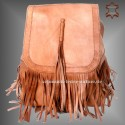 "Leather Backpack ""Cheroka""Natural with Fringes"