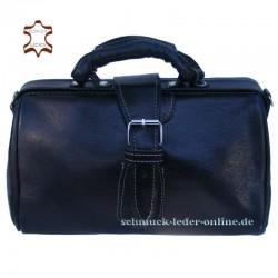 """Schwarze Damen Vintage Leder Handtasche """"Arzttasche"""""""