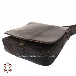 "Brown Small Leather Messenger Bag ""Simon"" Natural leather chestnutfor Men"