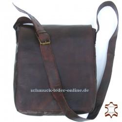 """Braune Leder Messenger Tasche """"Detlef"""" Mittelgroß Naturleder Vintage Echtleder Herren Schultertasche Umhängetasche Herrentasche"""