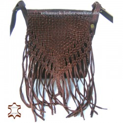 "Leather Bag with Fringes  ""Kimba"" Brown for women shoulder bag"