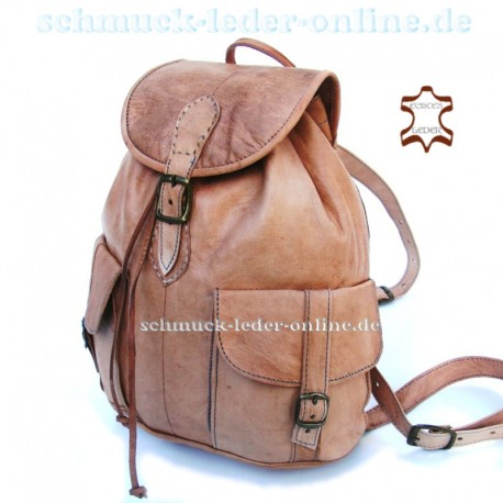 "Leather Backpack ""Toubkal"" Natural Midsize handmade"