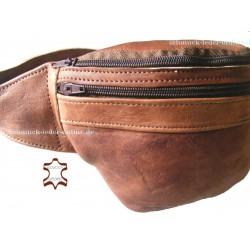 Riñonera Hombre Mujer Cuero Natural Marrón bolso de cintura cinturón hecho a mano artesanal