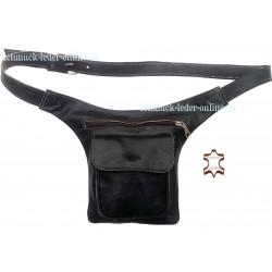 Riñonera Hombre Mujer Cuero Natural Negro bolso de cintura cinturón hecho a mano artesanal